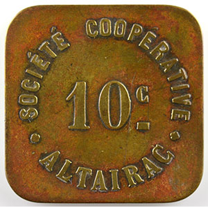Lec.186b   10 c   Lt, carré coins arrondis   23,5mm    TB+