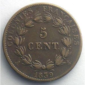 Lec.308   5 Centimes 1839 A    TTB/TTB+