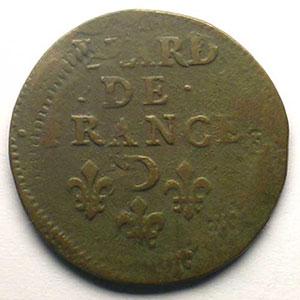 Liard au buste adolescent   Louis XV   1655 D  (Vimy)   double frappe    TB+