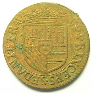 Liard au col fraisé frappé à Raucourt   (Henri de la Tour d'Auvergne 1594-1623)   1614    TTB