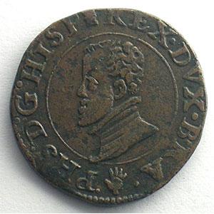Liard des états   Philippe II (1555-1598)   n.d.  Anvers    TTB