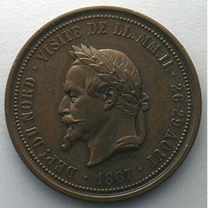 Lille   Napoléon III   médaille en cuivre  37mm   1867    SUP