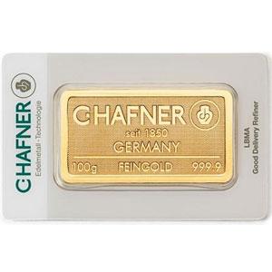 Lingotin 100 g or 999,9 mill.   C-HAFNER seit 1850  Germany    NEUF sous blister numéroté