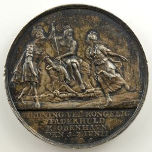 LOOS   Médaille en argent 36mm   Le grand incendie de Copenhague   5-7 juin 1795    TTB+