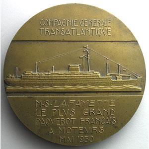 M. Delannoy   Compagnie Générale Transatlantique   M.S.Lafayette   bronze 68mm   Mai 1930    SUP