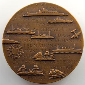 M. RENARD   Médaille en bronze  68mm   Compagnie générale transatlantique   Centenaire 1855-1955    SUP/FDC