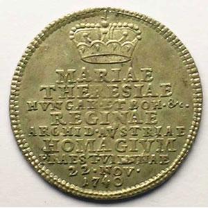 Marie Thérèse d'Autriche   Jeton rond en argent   21mm    TTB+/SUP