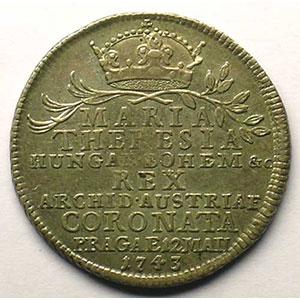 Marie Thérèse d'Autriche   Jeton rond en argent   25,5mm    TTB+