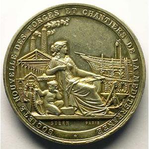 Marseille-La Seyne   Société Nouvelle des Forges et Chantiers de la Méditerranée   1855   médaille en argent   41mm    SUP