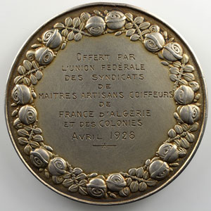 Mascaux Léon-Claude   Médaille en argent  50mm   Avril 1928    SUP  2 chocs sur la tranche