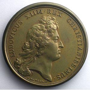MAUGER/J.B. DUFOUR   Déroute du Comte de Marsin et du Prince de Ligne près de Bruges   bronze   41mm    SUP