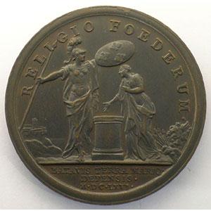 MAUGER   Secours donné aux Hollandais   bronze   41mm    SUP