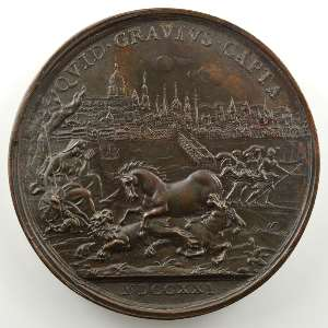 Médaille en bronze  50mm   Victoire contre la Maison de Hanovre   1721    TTB