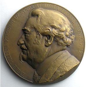 Médaille en bronze  63mm   Cinquantenaire 1884-1934   Emile Willeme, président du syndicat    SUP/FDC
