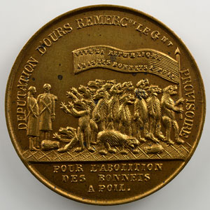 Médaille en bronze doré  27mm   (16 mars 1848)   Manifestation des Bonnets à poil    SUP/FDC