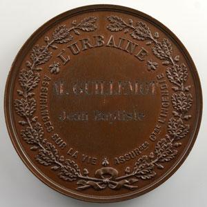 Médaille en cuivre   51mm   Compagnie d'Assurances l'Urbaine   (Assurances sur la Vie et contre l'Incendie)    SUP/FDC