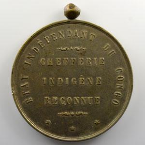 Médaille en maillechort avec bélière décernée aux chefs indigènes  60mm   Chefferie Indigène Reconnue    TTB
