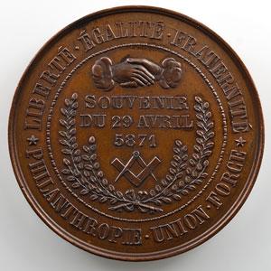 Médaille maçonnique   La Commune de Paris   Souvenir du 29 avril 5871 (1871)   bronze 46mm    SUP