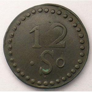 Mines d'Aniche   12 Sous   Cu, R  25mm    TB+