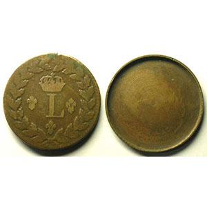 Monnaie dite de forçat réalisée avec 2 pièces de 1 Décime, dont le revers 1815 BB  (Strasbourg)    TB/TB+