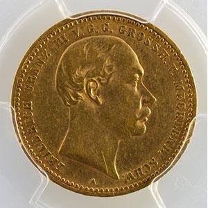 Photo numismatique  Monnaies Allemagne Grand-Duché de Mecklenbourg-Schwerin Frédéric-François III   (1883-1897) 10 Mark   1890 A    PCGS-AU55    TTB+/SUP