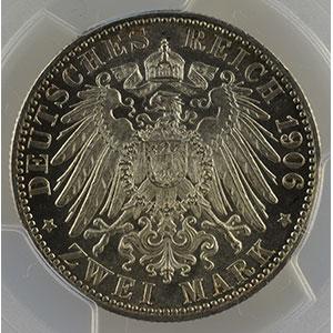 Photo numismatique  Monnaies Allemagne Royaume de Wurtemberg Guillaume II   (1891-1918) 2 Mark   1906 F  (Stuttgart)    PCGS-MS64    pr.FDC