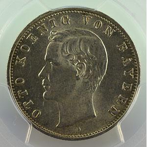 Photo numismatique  Monnaies Allemagne Royaume de Bavière Othon   (1886-1913) 2 Mark   1907 D  (Münich)    PCGS-MS63    SUP/FDC