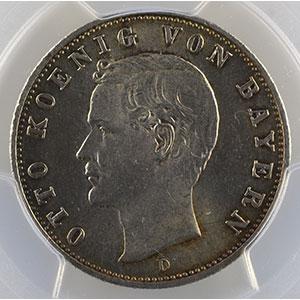Photo numismatique  Monnaies Allemagne Royaume de Bavière Othon   (1886-1913) 2 Mark   1908 D  (Münich)    PCGS-MS64    pr.FDC