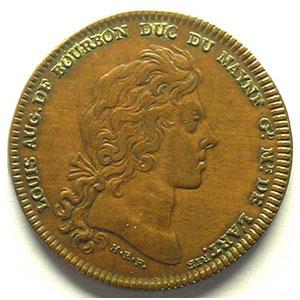 Photo numismatique  Monnaies Jetons & Médailles Jetons de l'Ancien Régime (Jetons royaux) Artillerie jeton en cuivre   29mm   Louis Aug. de Bourbon    TB+/TTB