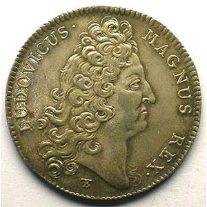 Photo numismatique  Monnaies Jetons & Médailles Jetons de l'Ancien Régime (Jetons royaux) Ordinaire des Guerres jeton rond en argent   Louis XIV   1714    SUP