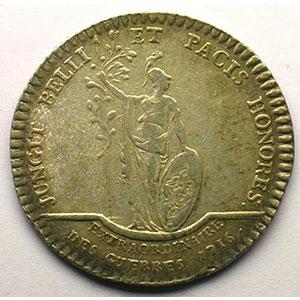 Photo numismatique  Monnaies Jetons & Médailles Jetons de l'Ancien Régime (Jetons royaux) Extraordinaire des Guerres jeton rond en argent   Louis XV   1716    TB+/TTB