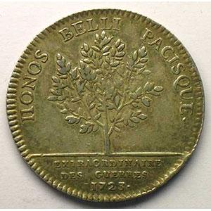 Photo numismatique  Monnaies Jetons & Médailles Jetons de l'Ancien Régime (Jetons royaux) Extraordinaire des Guerres jeton rond en argent   Louis XV   1723    TTB
