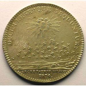 Photo numismatique  Monnaies Jetons & Médailles Jetons de l'Ancien Régime (Jetons royaux) Secrétaires du Roi jeton rond en argent   Louis XV   1724    TTB/TTB+