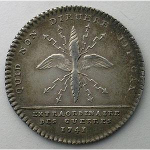 Photo numismatique  Monnaies Jetons & Médailles Jetons de l'Ancien Régime (Jetons royaux) Extraordinaire des Guerres jeton rond en argent   Louis XV   1741    TTB/TTB+