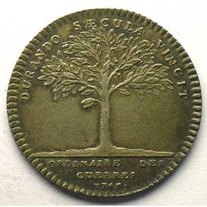 Photo numismatique  Monnaies Jetons & Médailles Jetons de l'Ancien Régime (Jetons royaux) Ordinaire des Guerres jeton rond en argent   Louis XV   1743    TTB