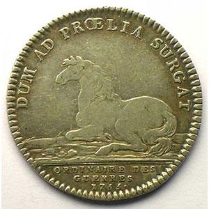 Photo numismatique  Monnaies Jetons & Médailles Jetons de l'Ancien Régime (Jetons royaux) Ordinaire des Guerres jeton rond en argent   Louis XV   1755    TB+/TTB