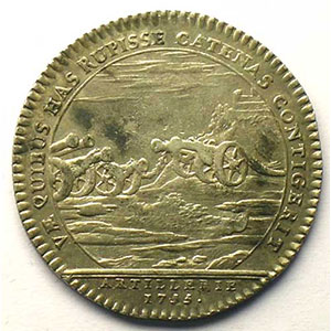 Photo numismatique  Monnaies Jetons & Médailles Jetons de l'Ancien Régime (Jetons royaux) Artillerie jeton rond en argent   Louis XV   1755    TTB