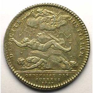 Photo numismatique  Monnaies Jetons & Médailles Jetons de l'Ancien Régime (Jetons royaux) Ordinaire des Guerres jeton rond en argent   Louis XV   1757    TTB+