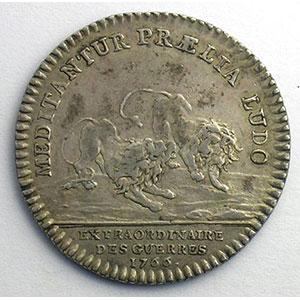 Photo numismatique  Monnaies Jetons & Médailles Jetons de l'Ancien Régime (Jetons royaux) Extraordinaire des Guerres jeton rond en argent   Louis XV   1766    TTB