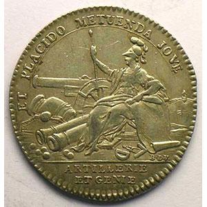 Photo numismatique  Monnaies Jetons & Médailles Jetons de l'Ancien Régime (Jetons royaux) Artillerie et Génie jeton rond en argent   Louis XV    TTB