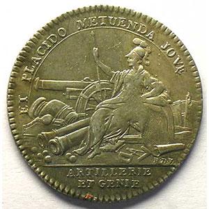 Photo numismatique  Monnaies Jetons & Médailles Jetons de l'Ancien Régime (Jetons royaux) Artillerie et Génie jeton rond en argent   Louis XV    TTB+