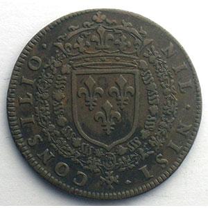 Photo numismatique  Monnaies Jetons & Médailles Jetons de l'Ancien Régime (Jetons royaux) Conseil du Roi Jeton rond en cuivre   Louis XIV    TTB+
