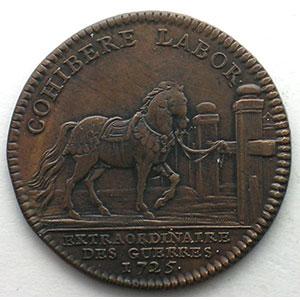 Photo numismatique  Monnaies Jetons & Médailles Jetons de l'Ancien Régime (Jetons royaux) Extraordinaire des Guerres jeton rond en cuivre   Louis XV   1725    TTB/TTB+