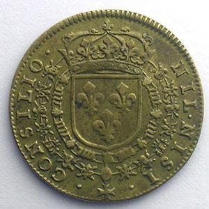 Photo numismatique  Monnaies Jetons & Médailles Jetons de l'Ancien Régime (Jetons royaux) Conseil du Roi Jeton rond en cuivre module 25mm   Louis XIV    TTB+