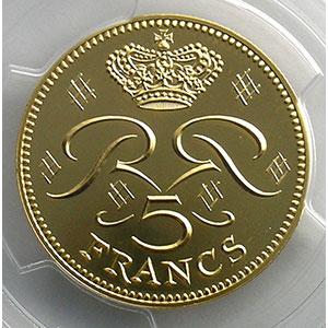 Photo numismatique  Monnaies Monaco Rainier III   (1949-2005) G.153   5 Francs Rainier III 1974 Essai en or    PCGS-SP68+    FDC