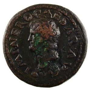 Photo numismatique  Monnaies Monnaies de l'empire romain Néron   (54-68) Semis R/ PONTIF MAX TR P IMP P P SC   Lyon    TB/TTB