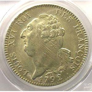 Photo numismatique  Monnaies Monnaies de la révolution G.55   Ecu de 6 Livres François 1792 A  2° sem.  (Paris)    PCGS-MS62    SUP/FDC