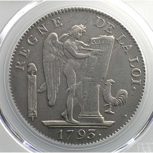 Photo numismatique  Monnaies Monnaies de la révolution G.58   Ecu de 6 Livres Convention 1793 A  (Paris)  An II, sans point    PCGS-AU53    TTB+