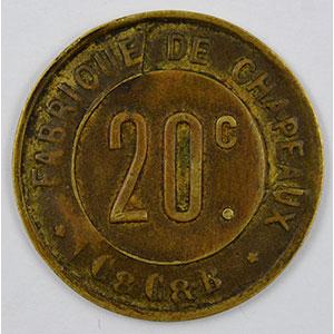 Photo numismatique  Monnaies Monnaies et jetons de nécessité CORBEILLES-ESSONNES (91) Fabrique de Chapeaux, C&C&B 20 c   Lt, R  23mm    TTB