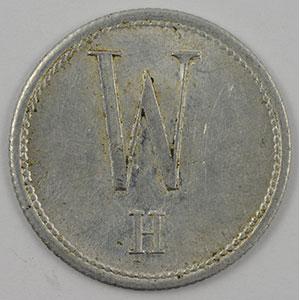 Photo numismatique  Monnaies Monnaies et jetons de nécessité d'Alsace-Moselle HAYINGEN (Hayange) (57) W. H. (Wendel - Hayingen) 1/2 L Milch Marke-Jeton de Lait  Al,R  22 mm    TTB+